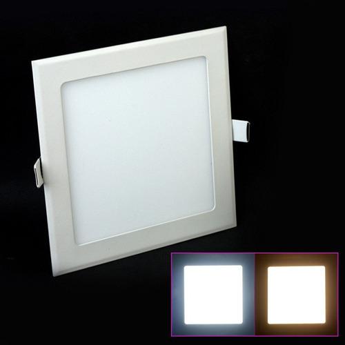 plafon led pack x 5 cuadrado embutir 18w calida bajo consumo