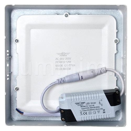 plafon luminária led 12w sobrepor quadrado branco frio