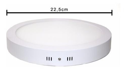 plafon luminaria painel led redondo sobrepor 18w - 05 peças