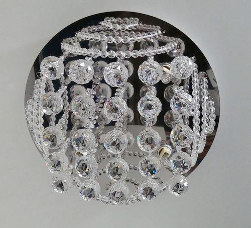 plafon lustre de cristal 30cm c/led sala quarto corredor 950