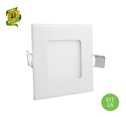 plafon painel led embutir 3w branco quente quadrado kit 16