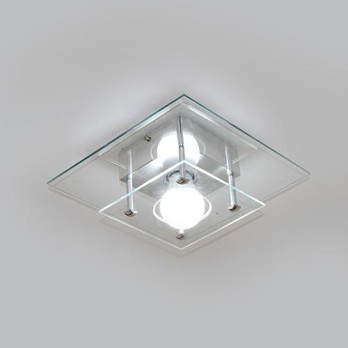 plafon quadrado vidro duplo transparente para 1 lâmpada