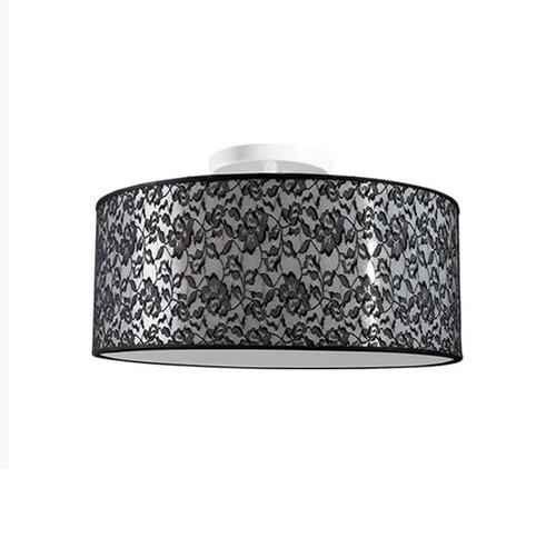 plafon redondo tecido rendado ø40 luminária sala - caisma