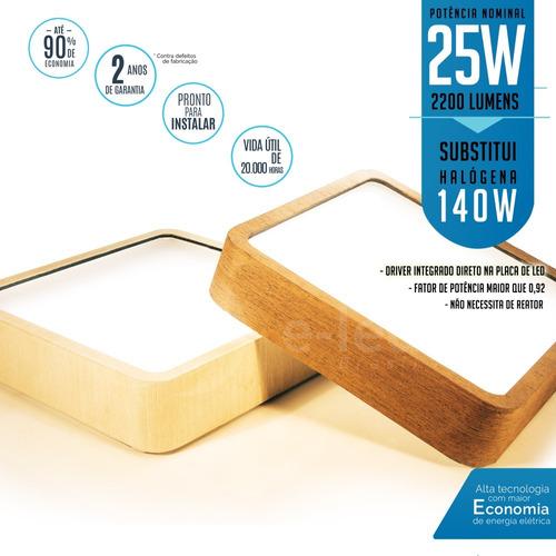 plafon sobrepor quadrado de madeira a led de 25w 21x21 cm