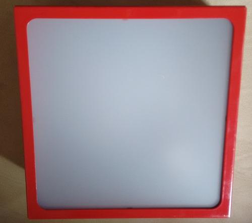 plafon  sobrepor quadrado vermelho  40x40x8 acrílico leitoso