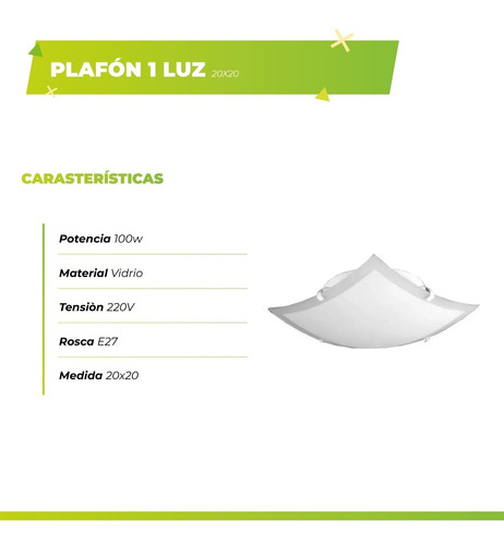 plafón techo  1 luz 20x20 vidrio apto led bajo consumo led e27 satinado ideal hogar