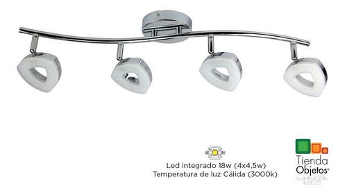 plafon techo decorativo 4 luces movil platil trion led 18w