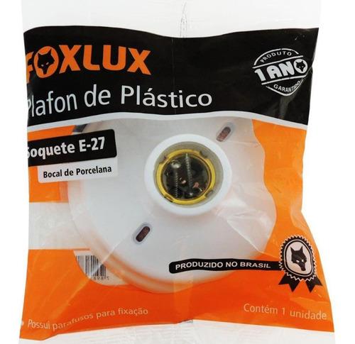 plafonier de plástico com soquete de porcelana e-27 branco