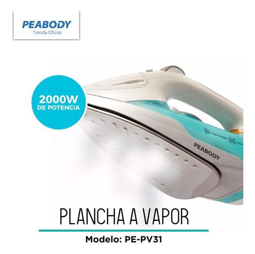 plancha a vapor peabody base acero inoxi pe-pv31 2000w pc rt