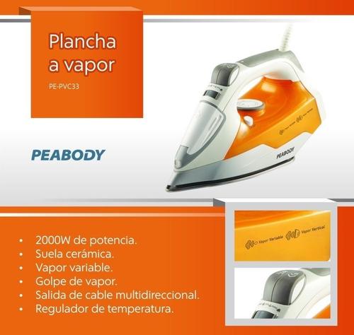 plancha a vapor peabody pe-pvc33 2000w base ceramica