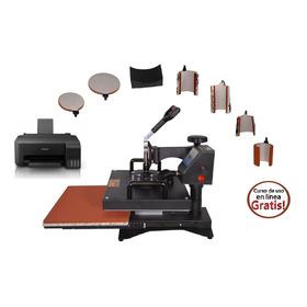 Plancha Combo Kit 8 En 1 38x38 Tlp Sublimacion + Impresora + Regalos Mp