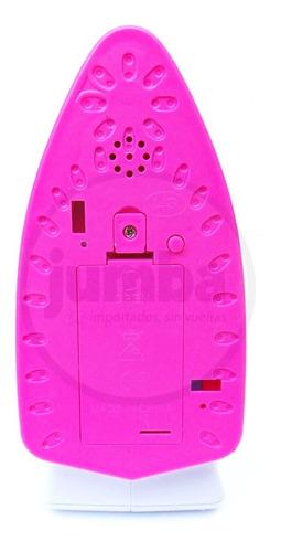 plancha de juguete a pilas con sonidos y música blanca rosa