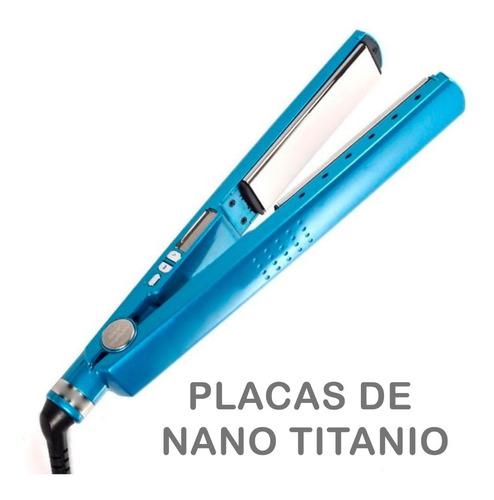 plancha de pelo + ondulador rizador con placas de titanio