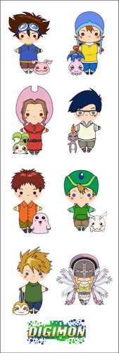 plancha de stickers de anime de digimon