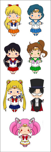 plancha de stickers de anime de sailor moon marte mercurio