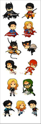 plancha de stickers de dc universe batman superman robin
