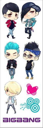 plancha de stickers de k-pop big bang taeyang g-dragon top
