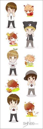 plancha de stickers de k-pop de shinee minho taemin onew