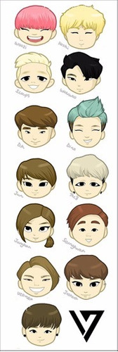 plancha de stickers de k-pop seventeen