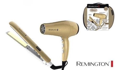 plancha + secador remington dorada uv collection