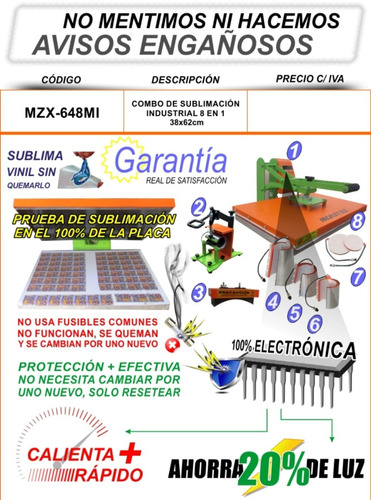 plancha transfer sublimacion industrial 8x1 40x60cm moritzu