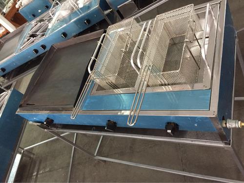 plancha y freidor2 industrial acero inoxidable c/base a gas