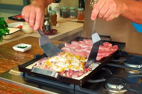 plancheta!! la planchetta® 2 hornallas + espátula + tapa!!!