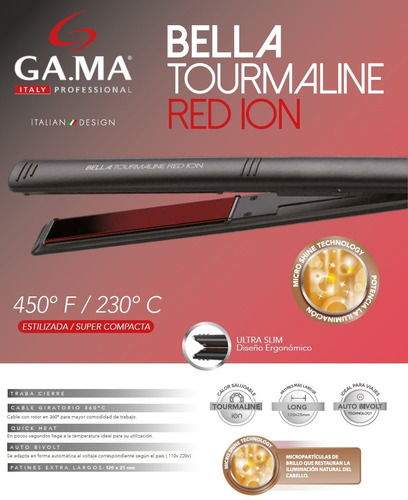 planchita de pelo gama bella tourmaline red ion ultra slim