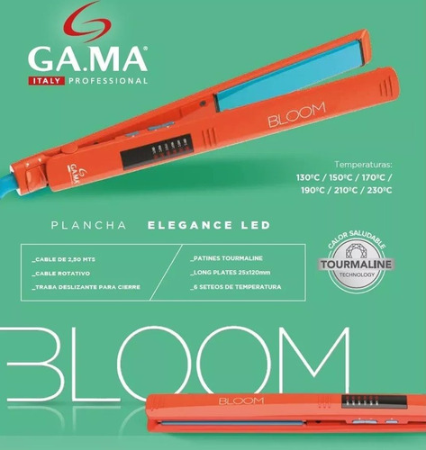 planchita de pelo gama elegance led digital bloom naranja