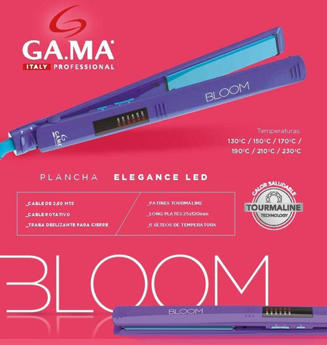 planchita de pelo gama elegance led digital bloom violeta