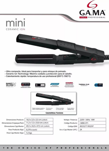 planchita de pelo mini ceramic ion cp1 by gama italy palermo