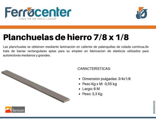planchuela de hierro 7/8 x 1/8'' - 6 mts de largo - cuotas!