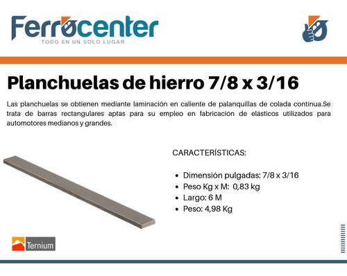 planchuela de hierro 7/8 x 3/16'' -6 mts de largo- oferta!