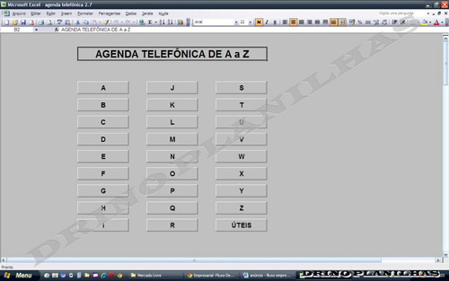 planilha agenda telefônica de a à z