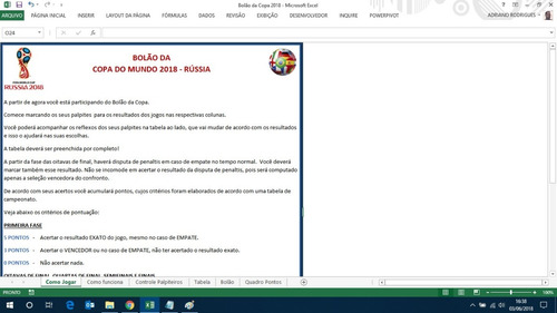 planilha bolão da copa do mundo da rússia 2018 promoção!!!