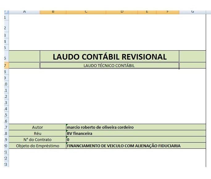Planilha Cálculo Revisional Financiamentorevisão Contrato
