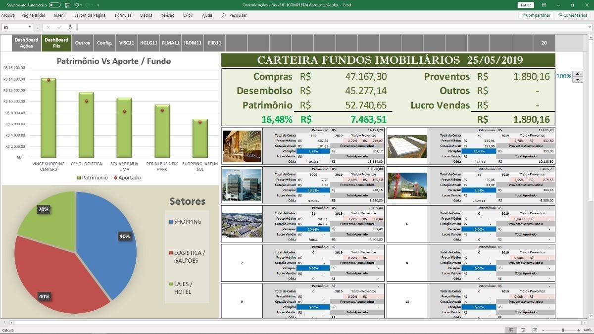 Planilha Controle De Ações E Fundos Imobiliários Completa - R$ 175 ...