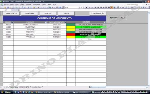 planilha controle de vencimento de produtos
