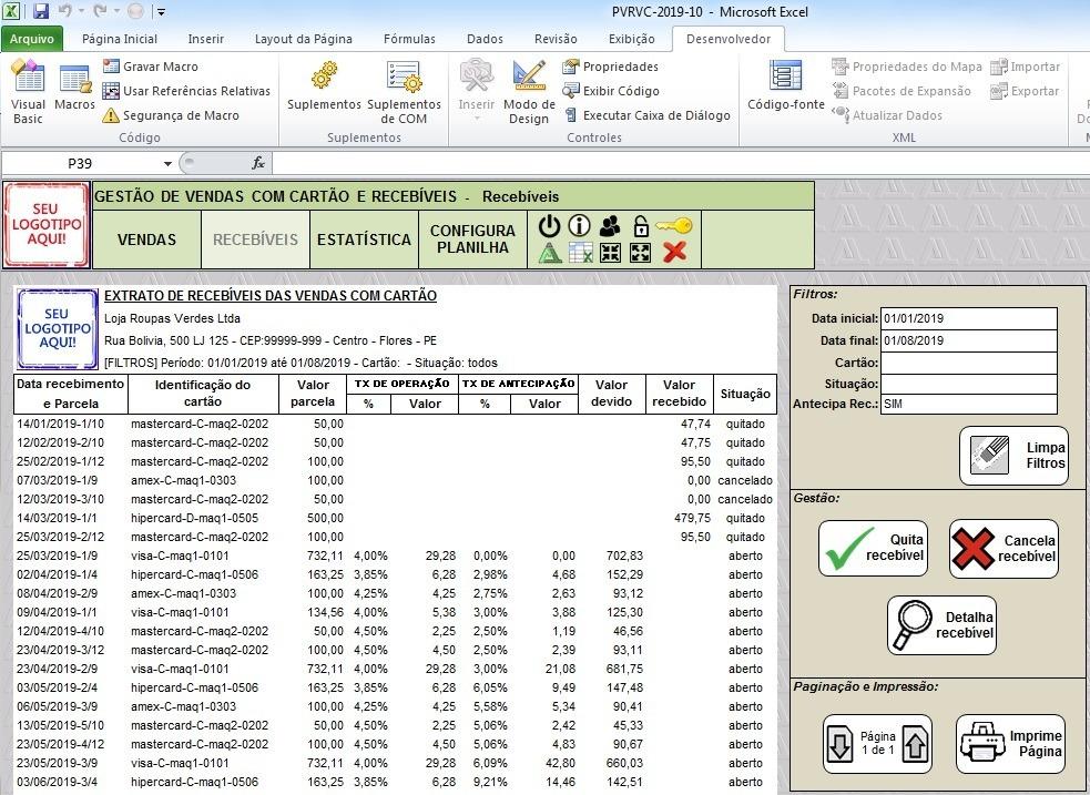 c7707697a4e9 Planilha Controle Recebíveis De Cartão De Crédito E Débito - R$ 99 ...