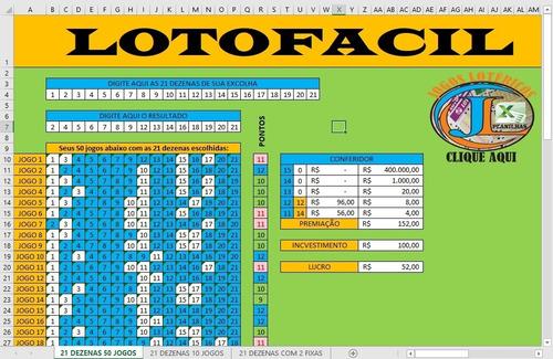 planilha da lotofacil com 21 dezenas em 50 jogos +brindes