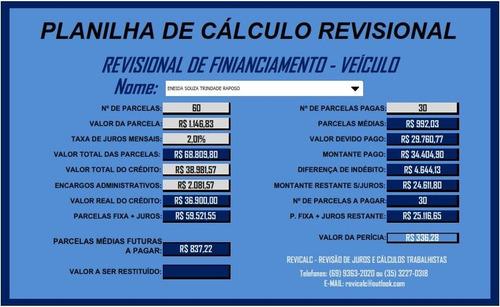 planilha de cálculo revisional + laudo contábil + brindes