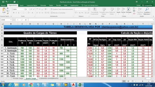 planilha de  cálculos elétricos e  demanda elétrica em excel