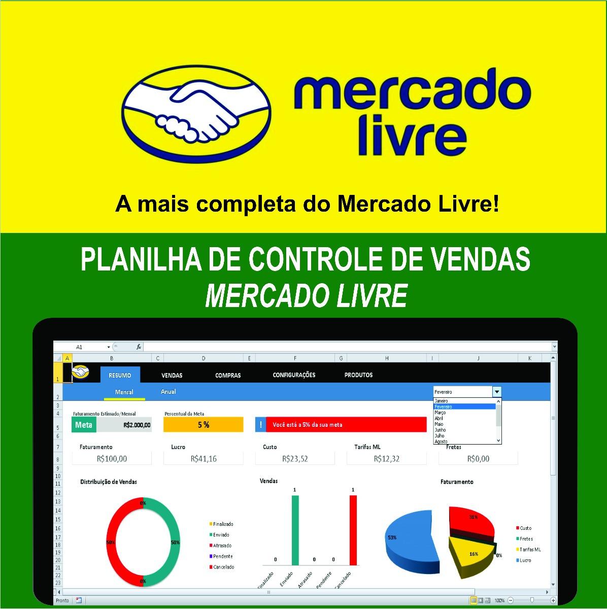 94e49bc1276 Planilha De Controle De Vendas Mercado Livre - R  34