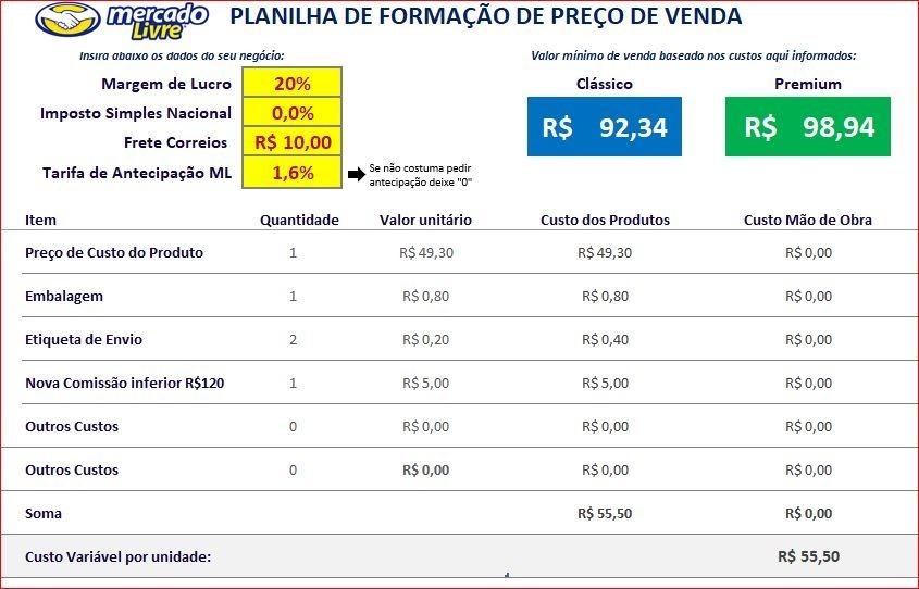 26d95d31c74 Planilha De Formação De Preço De Venda Mercado Livre 2018 - R  9