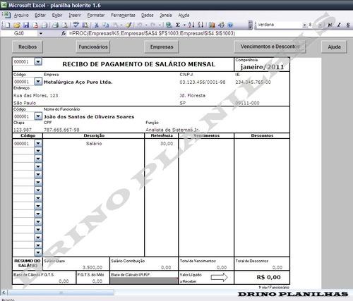 planilha de impressão de holerite contra cheque