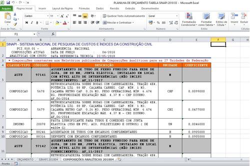 planilha de orçamento de obras integrada a sinapi +14 bônus!