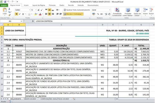 planilha de orçamento de obras integrada a sinapi +18 bônus!