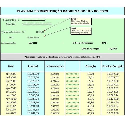 planilha de restituição da multa de 10% do fgts