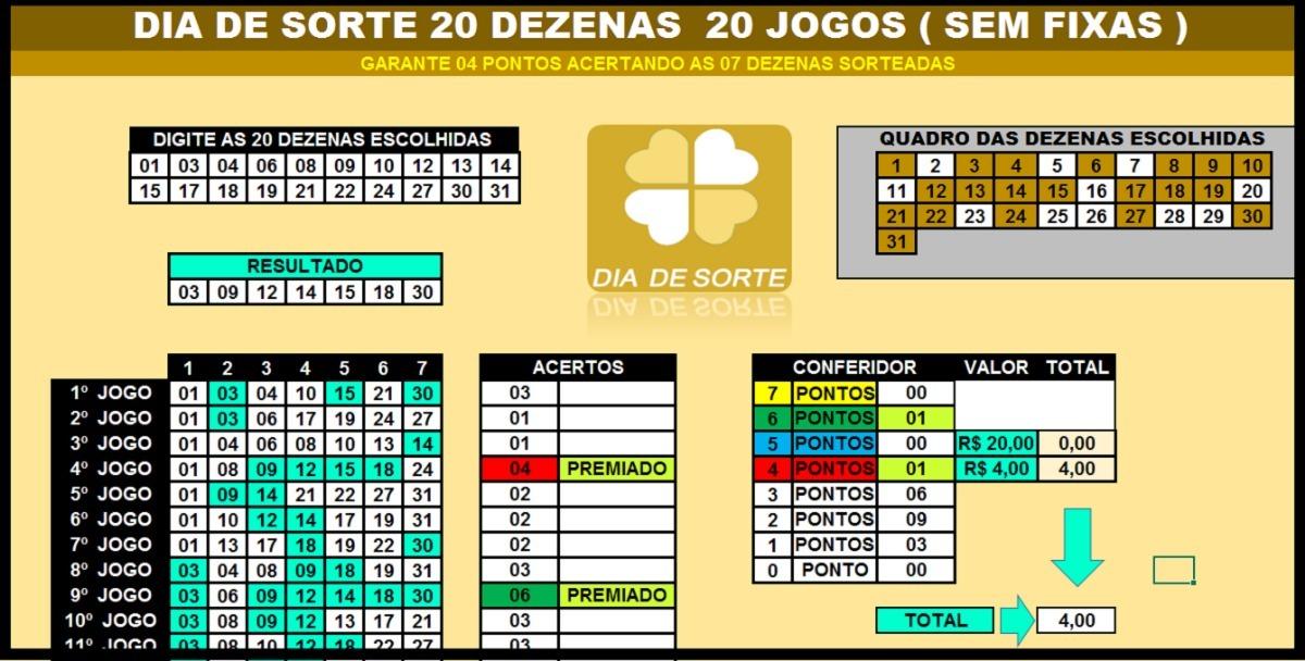 d946fbbcbb4fd Planilha Dia De Sorte 20 Dezenas 20 Jogos ( Sem Fixas ) - R  15