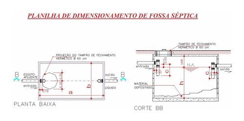 planilha engenharia - dimensionamento fossa séptica + brinde